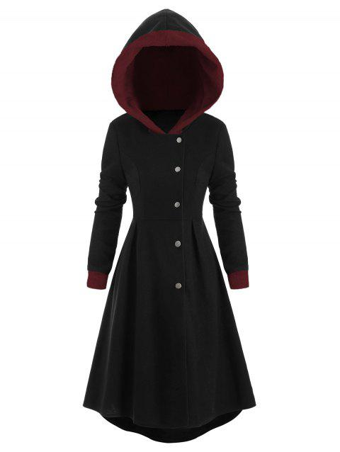 Snap Button Fur Trim Skirted Hooded Coat