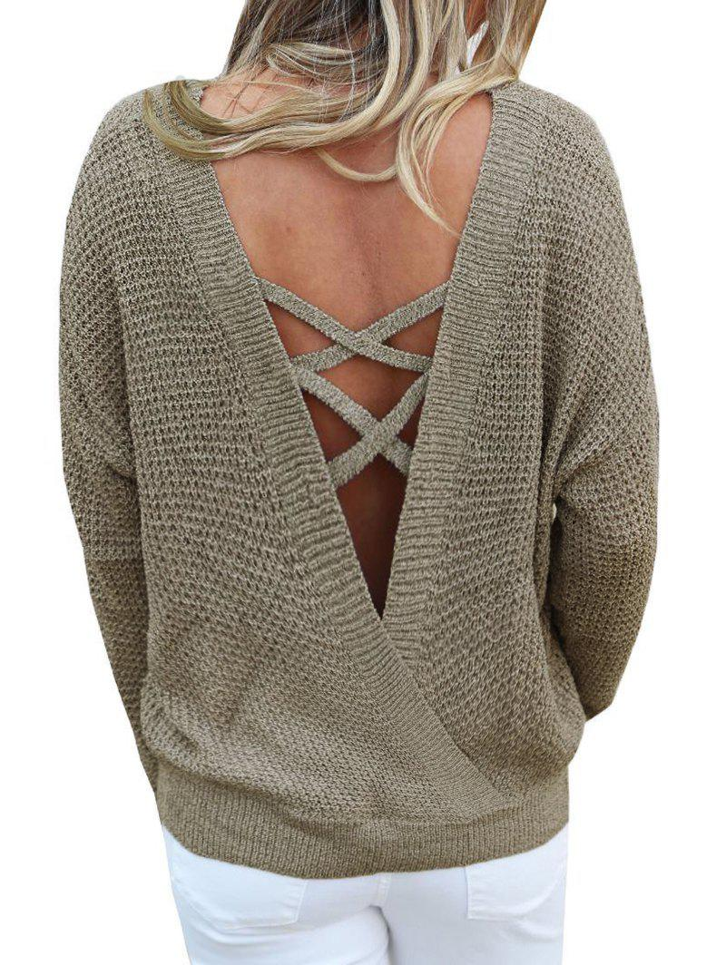 Criss Cross Solid Convertible Sweater - WOOD XL
