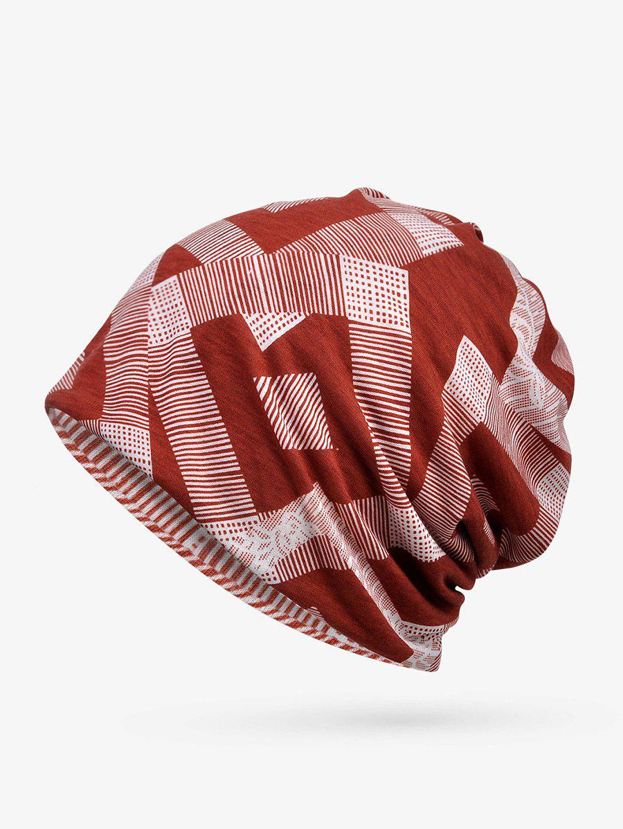 Checkered Striped Print ElasticDouble Use Scarf Hat - RED WINE
