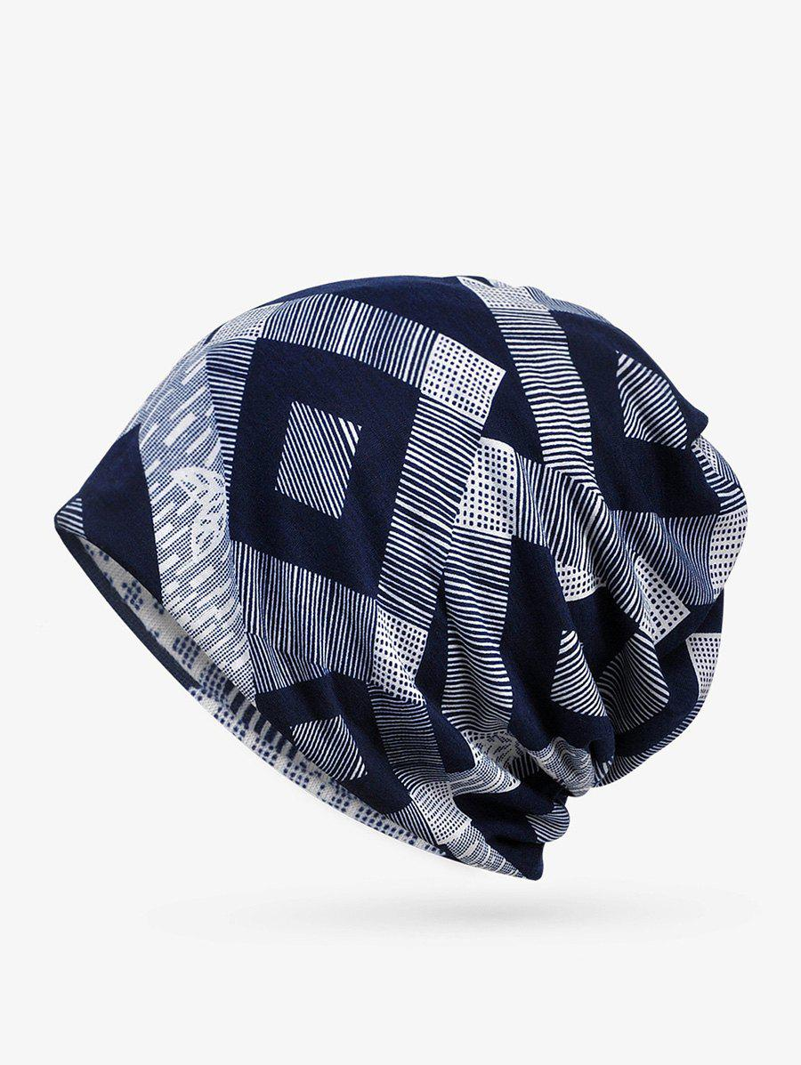 Checkered Striped Print ElasticDouble Use Scarf Hat - DEEP BLUE