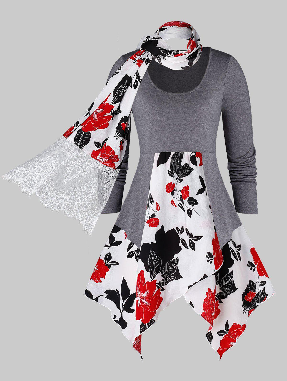 Plus Size Floral Print Hanky Hem T Shirt With Scarf - GRAY 4X