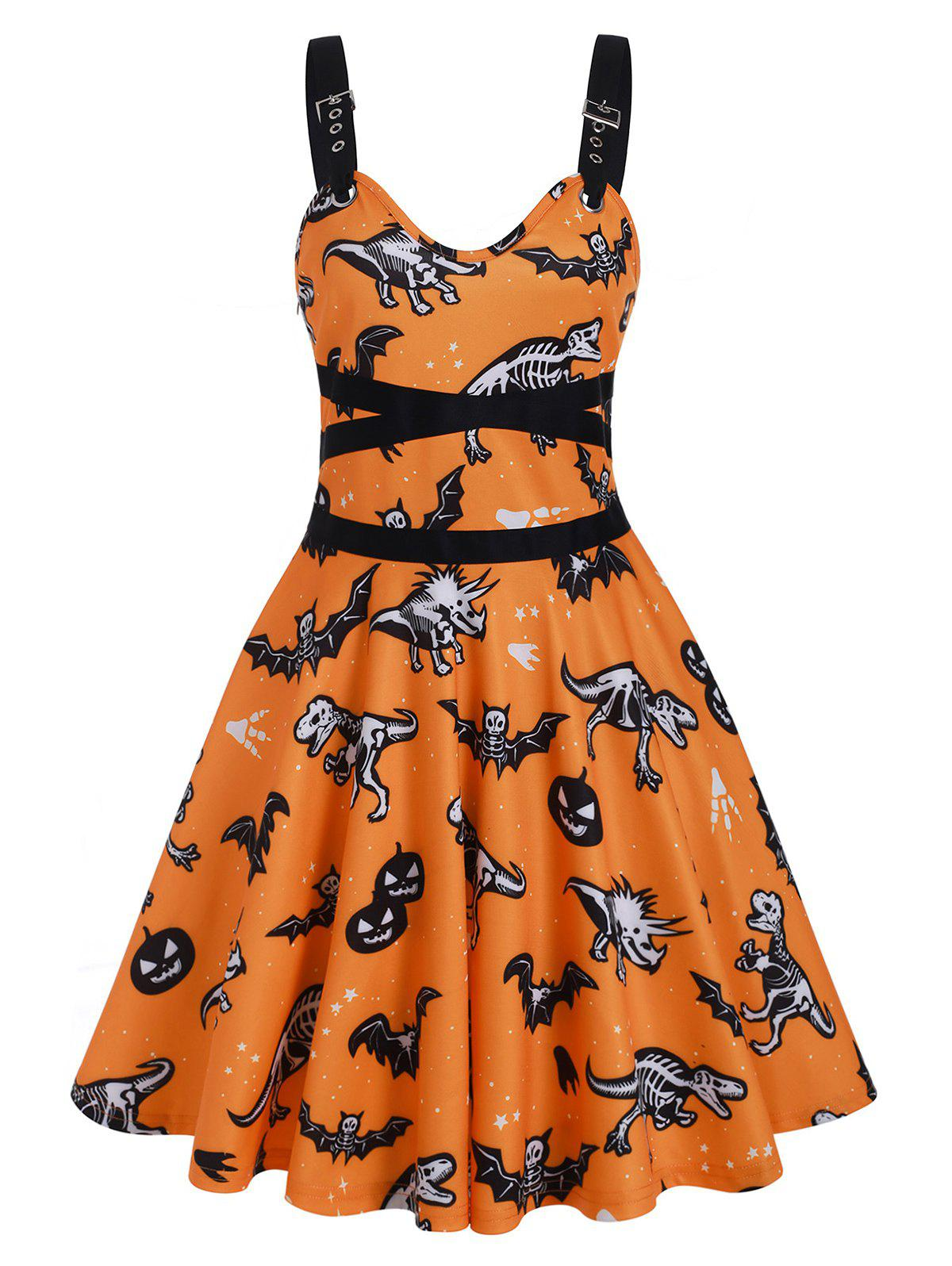 Dinosaur Bat Skeleton Sleeveless Halloween Dress - BASKET BALL ORANGE M