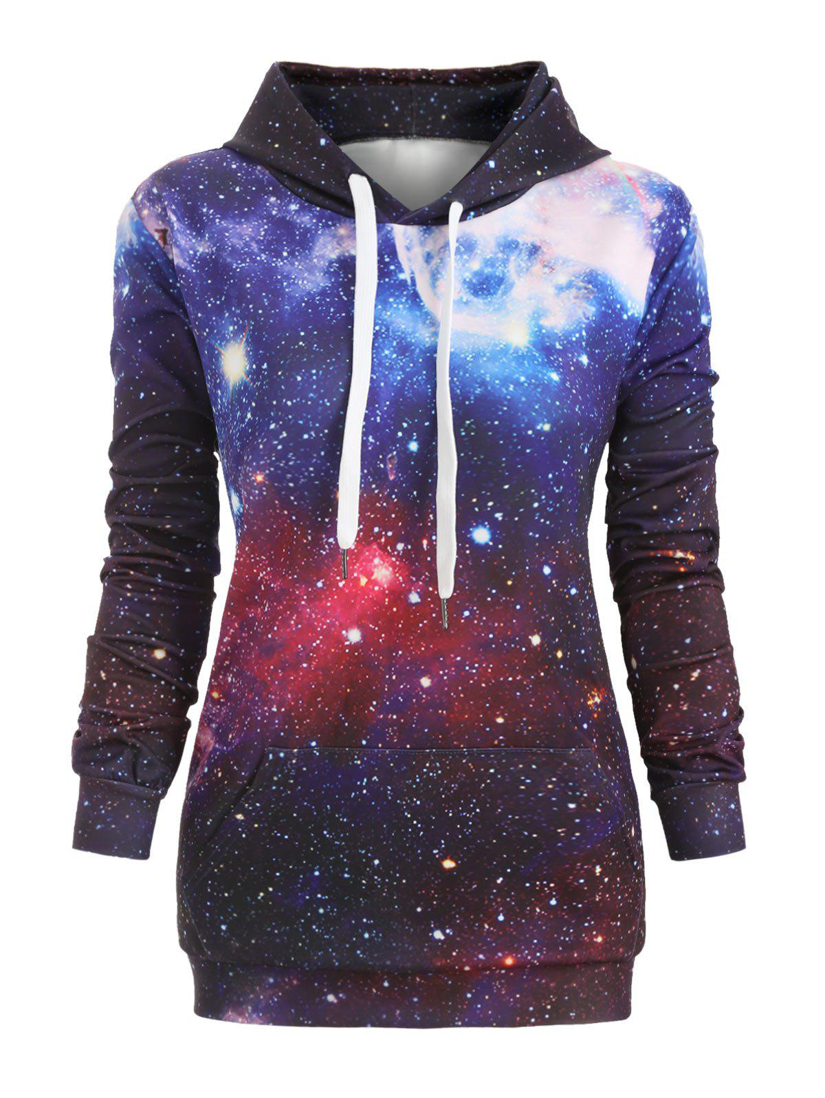 Galaxy Print Front Pocket Longline Hoodie - multicolor B M