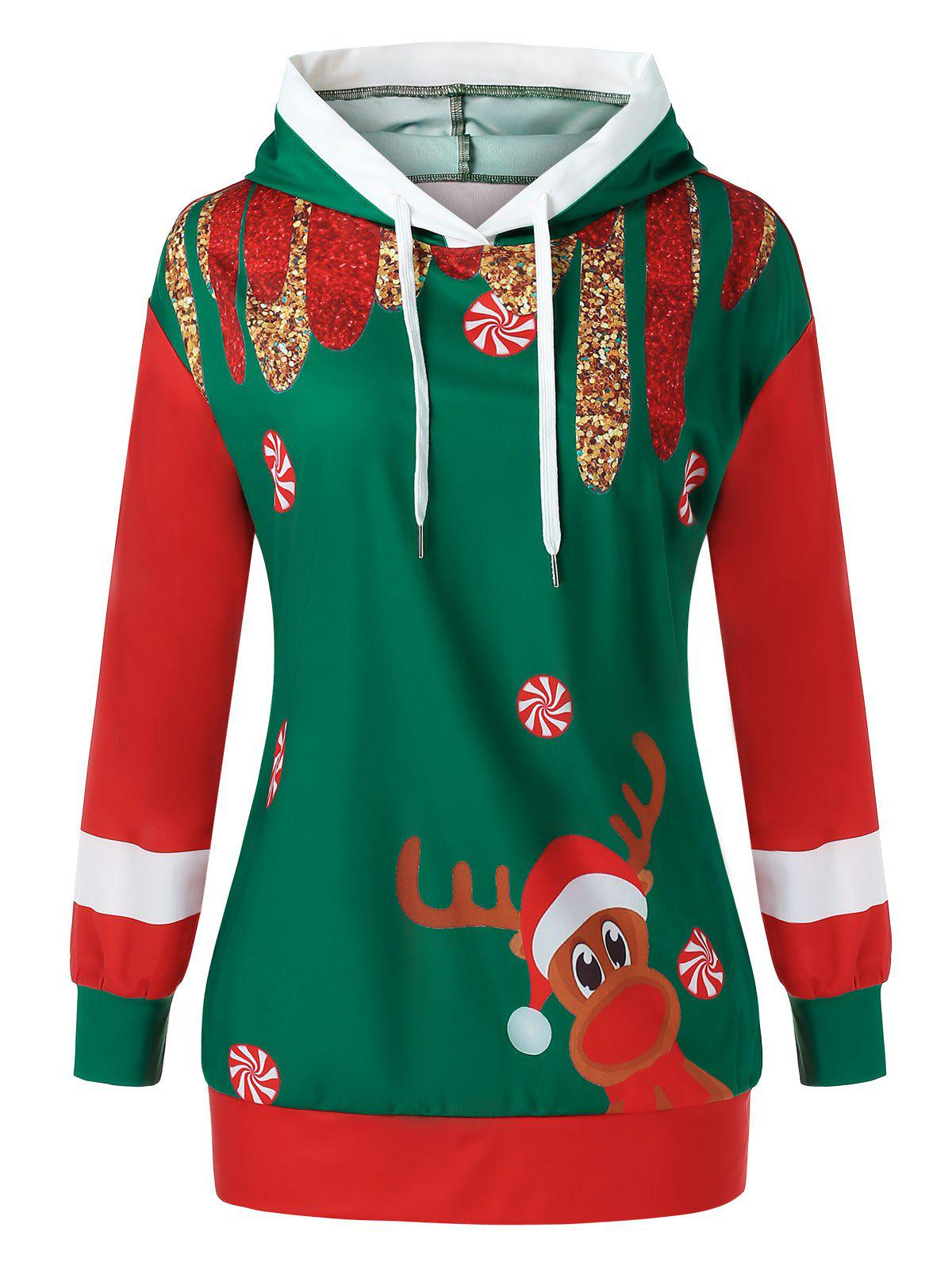 Plus Size Christmas Printed Pullover Hoodie - multicolor 5X