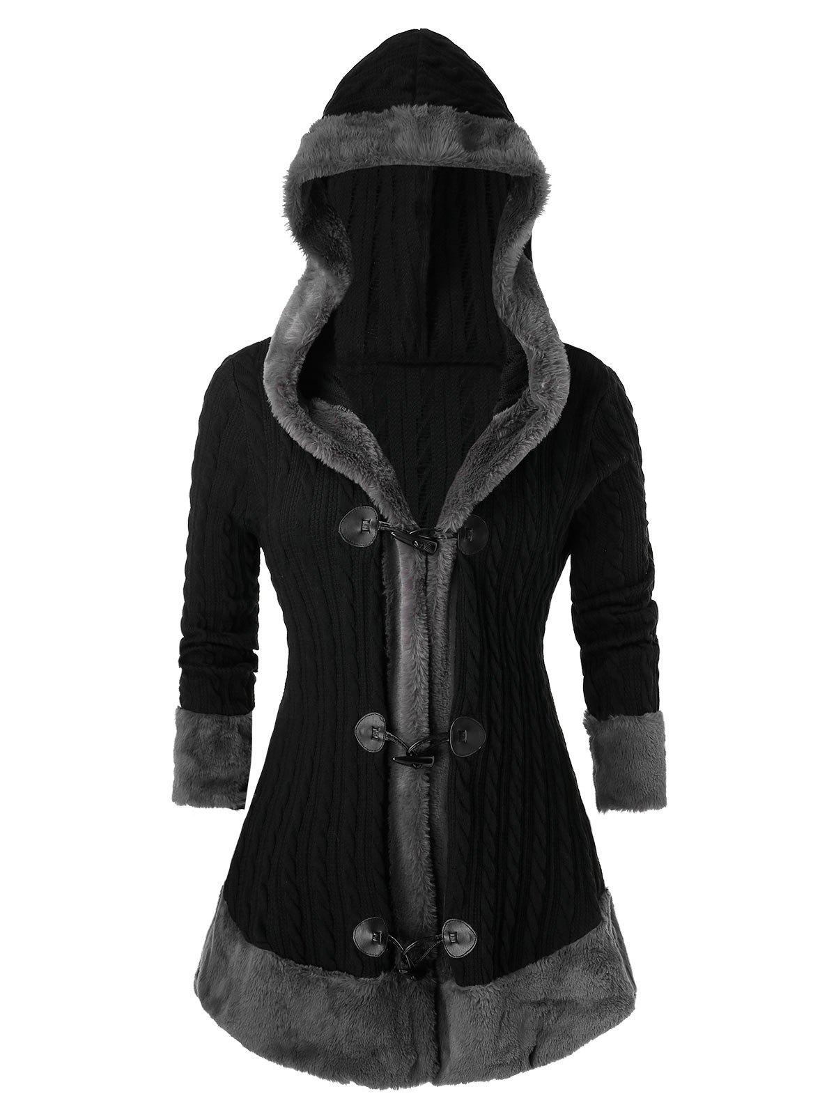 Plus Size Hooded Faux Fur Horn Button Cable Knit Cardigan - BLACK 5X
