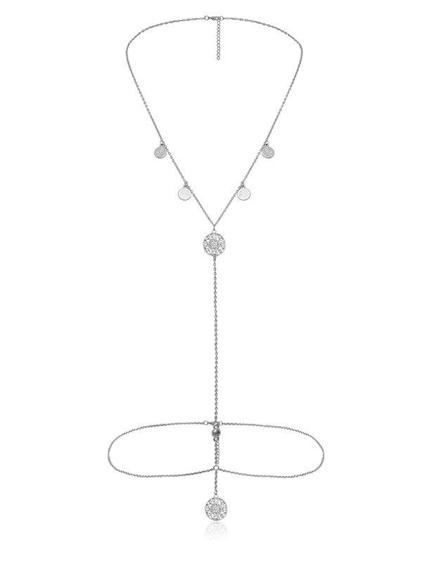 Sexy Hollow Out Round Pendant Necklace Body Chain - SILVER