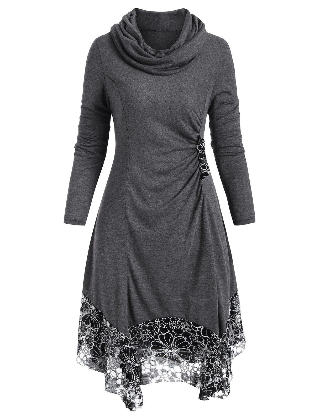 Cowl Neck Floral Asymmetrical Dress - GRAY XL