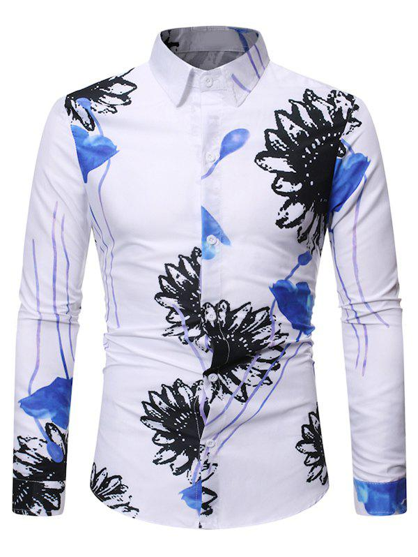 Floral Painting Long Sleeves Casual Shirt - WHITE 2XL