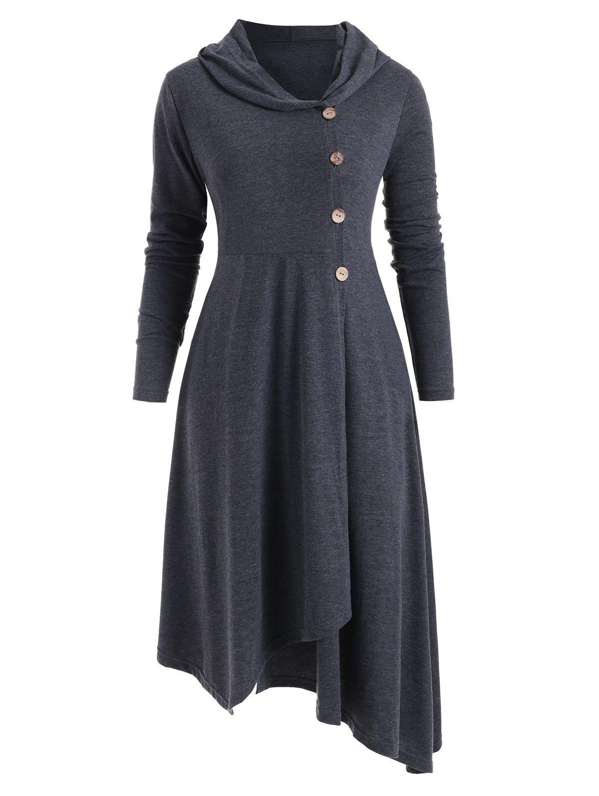 Hooded Asymmetrical Longline Button Up Coat - GRAY 2XL