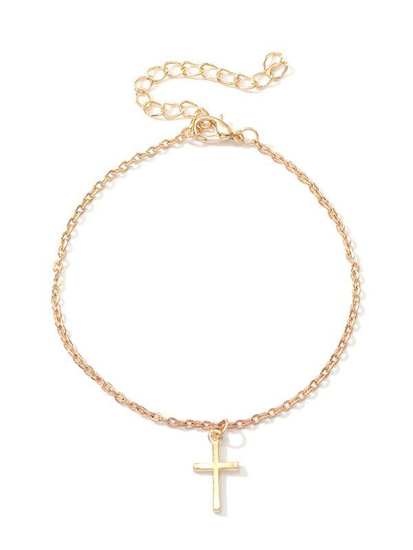 Metal Simple Cross Pendant Anklet - GOLD