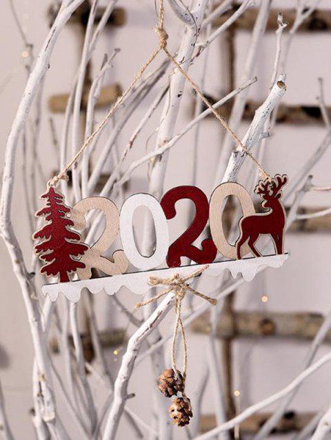 Christmas Tree 2020 Deer Wooden Hanging Decor - multicolor B