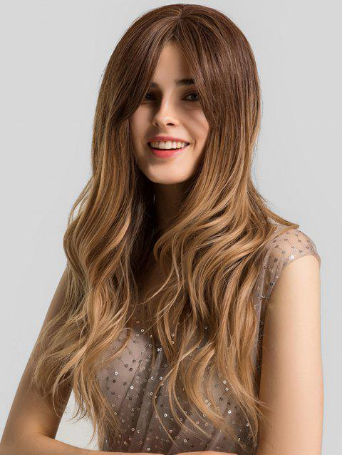 Ombre Long Wavy Center Part Synthetic Wig - multicolor