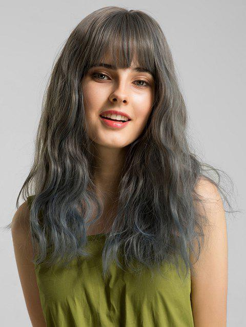 Party See-through Bang Long Wavy Synthetic Wig - multicolor