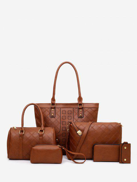 6 Piece Rhombus Embossed PU Leather Handbag Set - BROWN