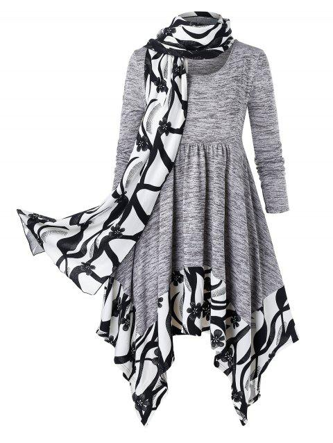 Plus Size Marled Floral Hanky Hem Dress With Scarf - DARK GRAY 4X