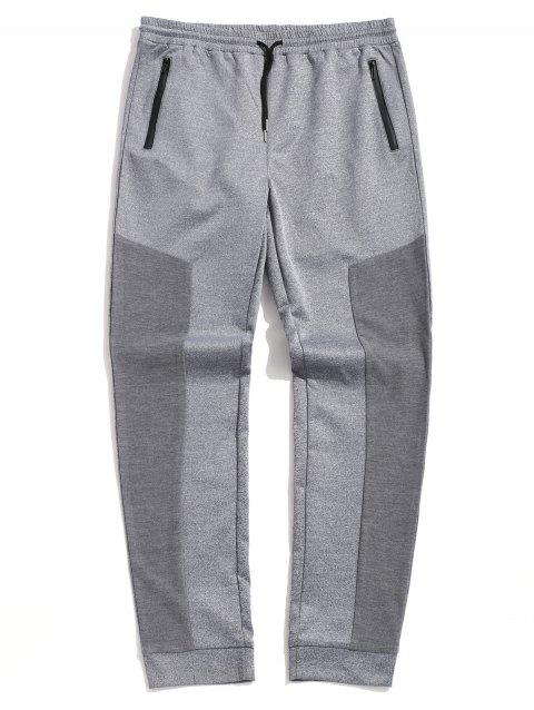 Plus Size Contrast Heathered Zipper Pockets Tapered Sweatpants - multicolor 5XL
