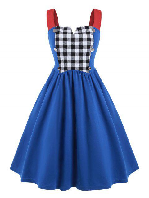Plaid Panel V-notch Plus Size Vintage Dress