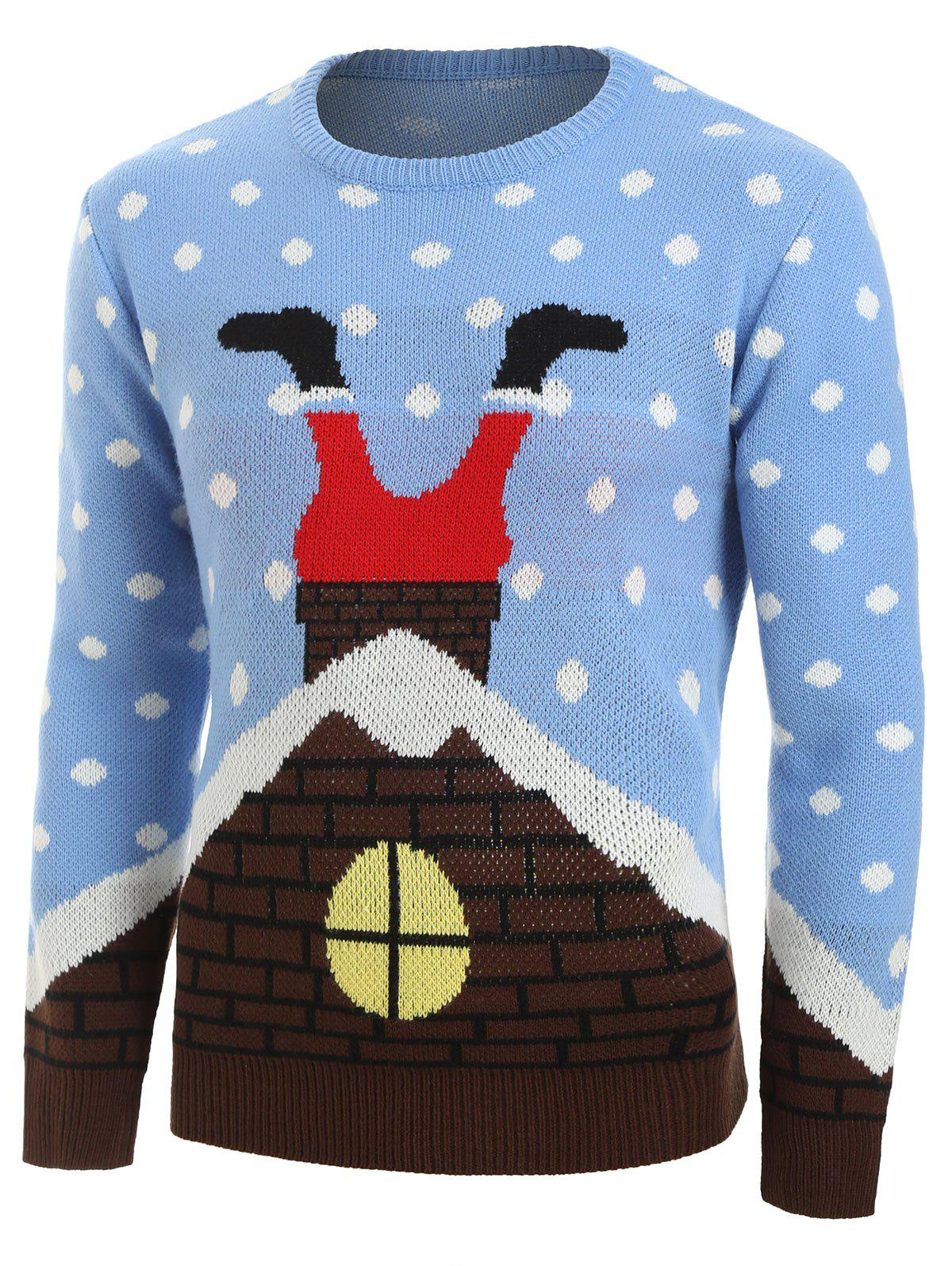 Christmas Santa Claus House Pattern Sweater - DAY SKY BLUE M