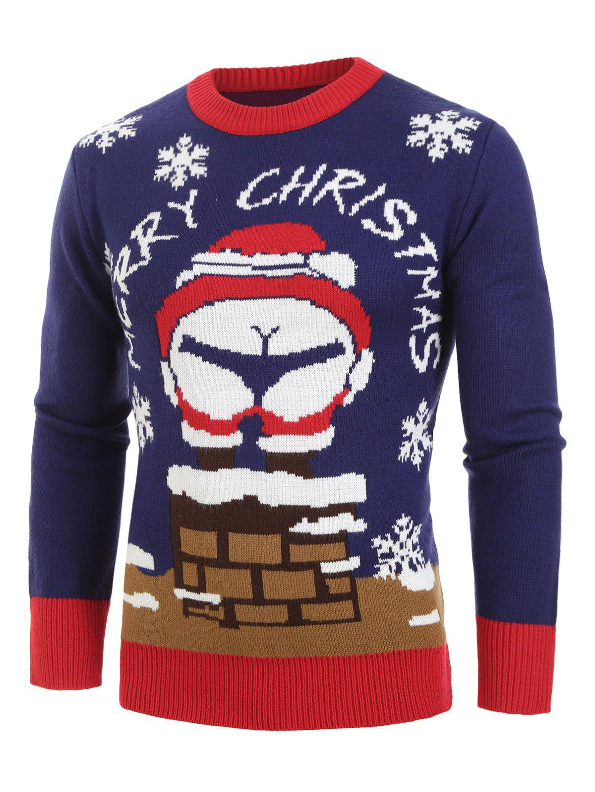 Christmas Santa Claus Pattern Pullover Sweater - NAVY BLUE M