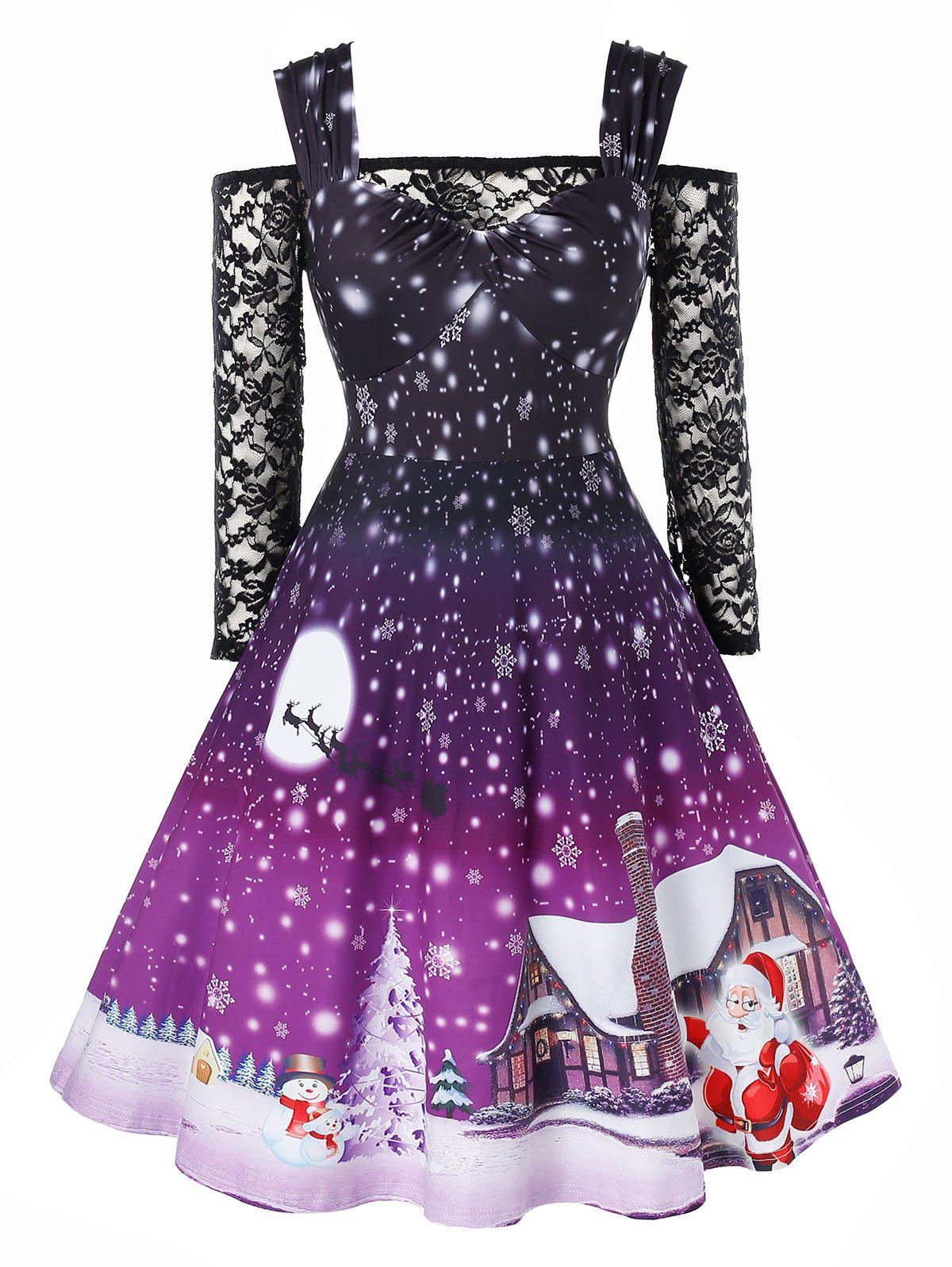 Plus Size Sweetheart Neck Christmas Vintage Dress with Lace T Shirt - PURPLE FLOWER 5X