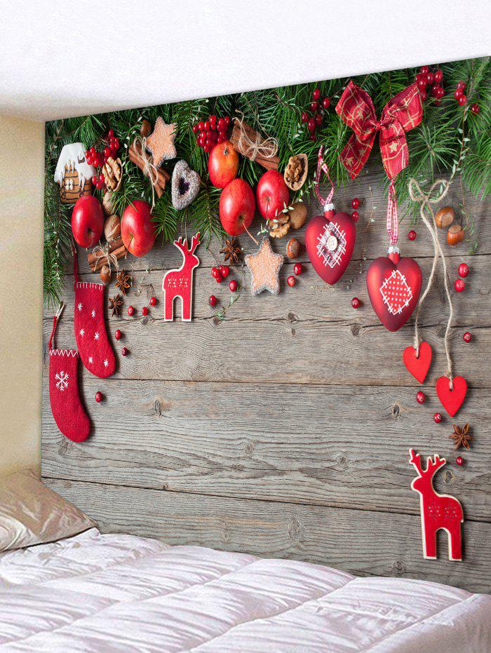 Christmas Decorations Wooden Board Print Tapestry Wall Hanging Art - multicolor C W59 X L59 INCH