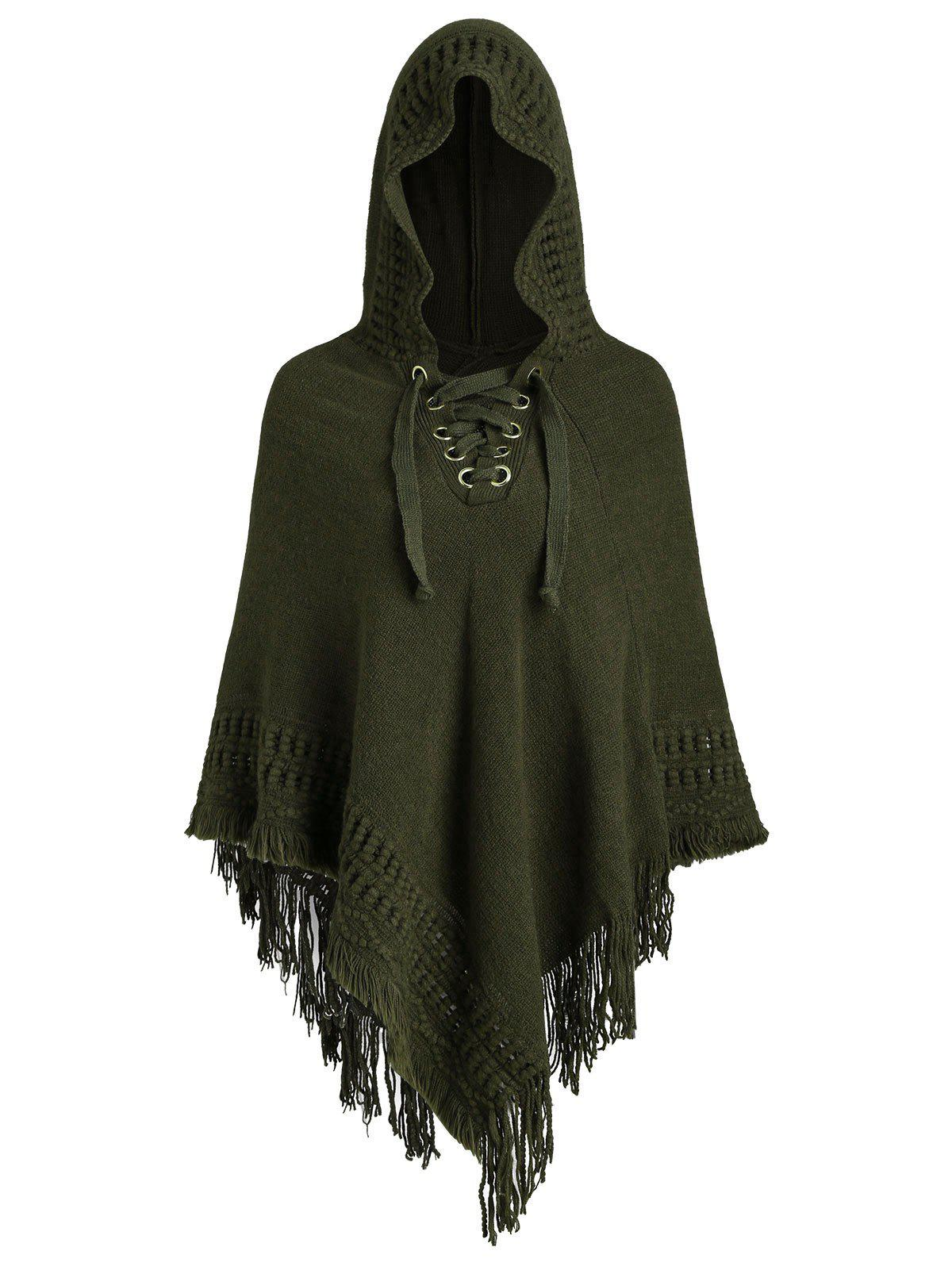 Fringe Hooded Lace-up Plus Size Poncho Sweater - ARMY GREEN ONE SIZE