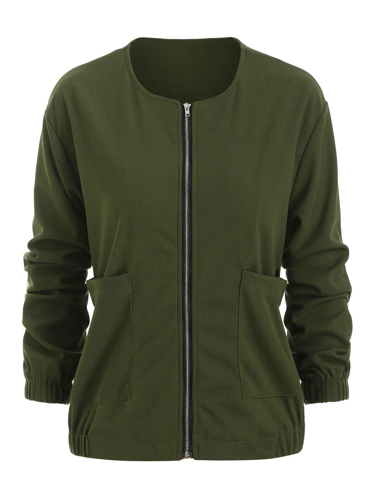 Plus Size Front Pockets Jacket - ARMY GREEN 3X