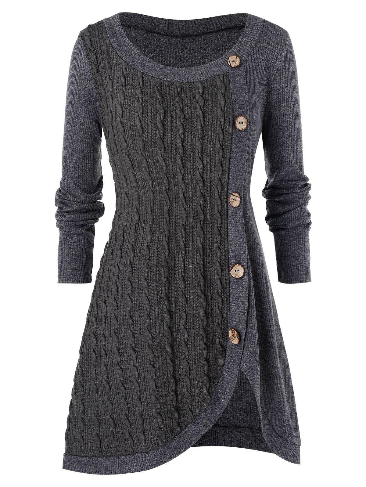 Plus Size Buttoned Front Slit Cable Knit Sweater - LIGHT SLATE GRAY 4X
