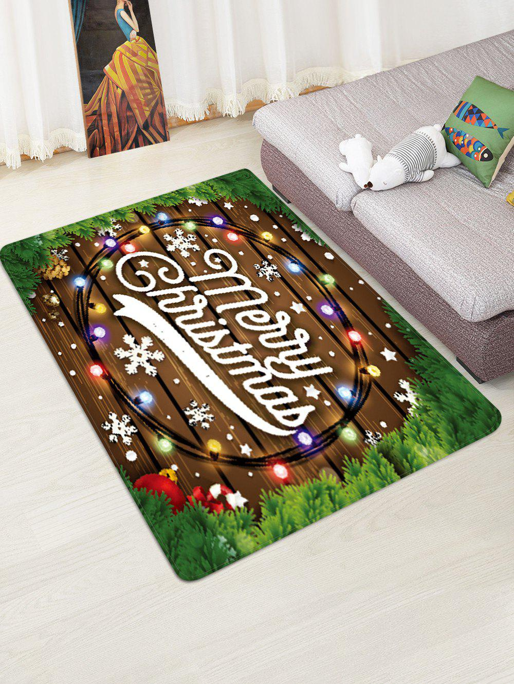 Merry Christmas Wooden Print Floor Rug - SEAWEED GREEN W47 X L63 INCH