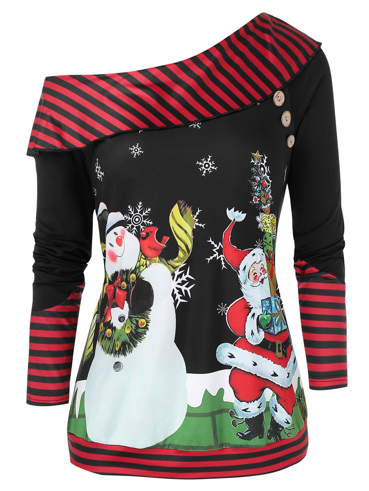 Plus Size Christmas Skew Neck Snowman Santa Claus Sweatshirt - RED WINE 5X