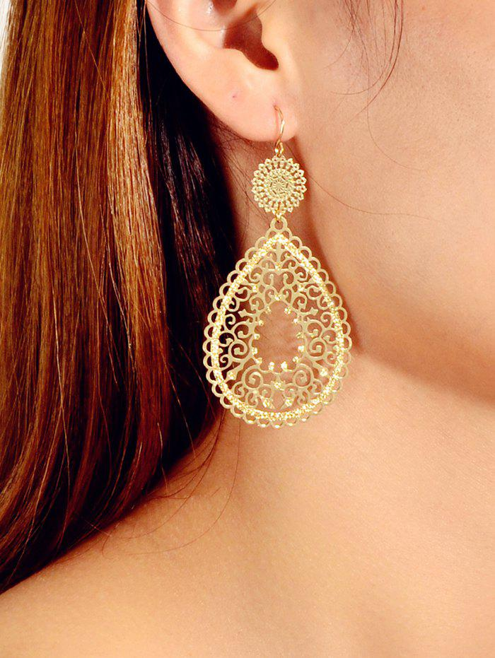 Hollowed Out Water Drop Shape Metallic Dangle Earrings - GOLD