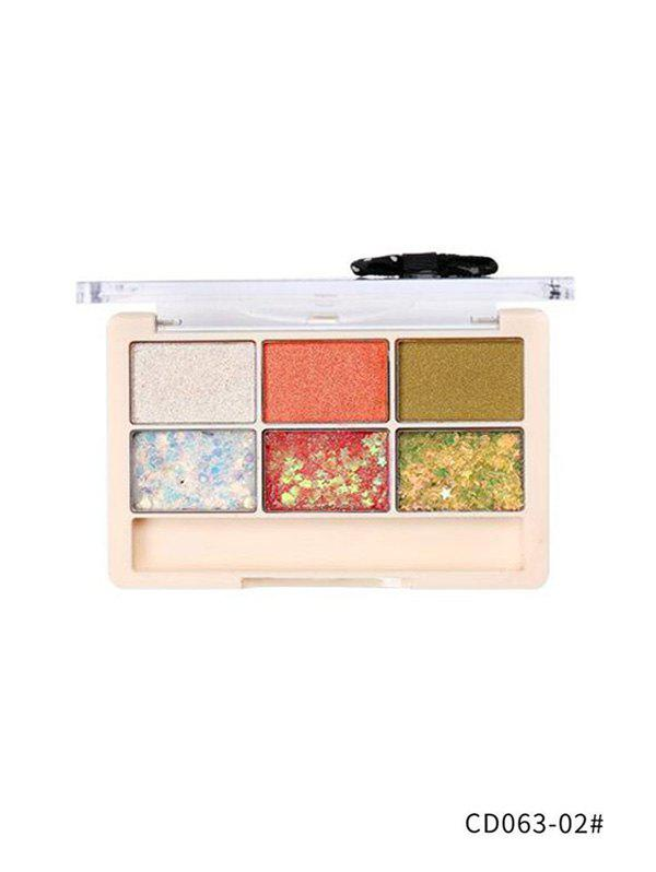 6 Colors Glitter Professional Stars Eyeshadow Compact - multicolor B