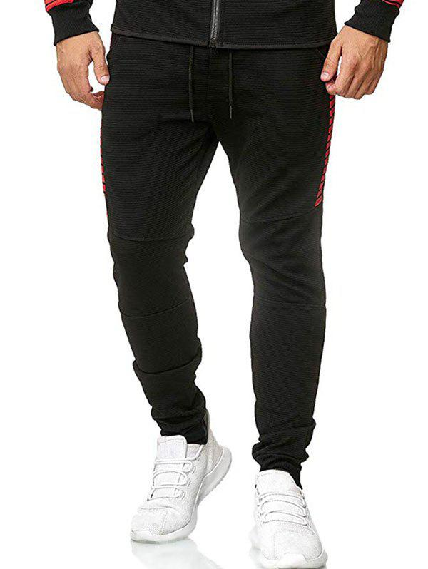 Casual Color Spliced Drawstring Jogger Pants - RED XL