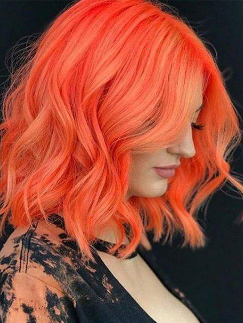See-through Bang Wavy Short Synthetic Party Wig - ORANGE 16INCH