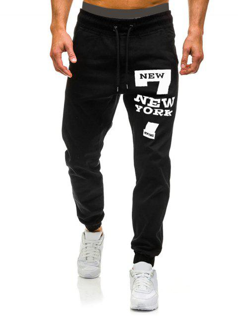 Number Seven Graphic Casual Jogger Pants - BLACK M