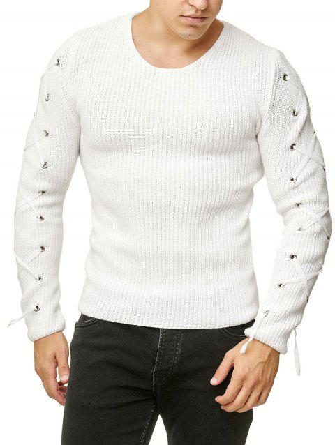 Lace Up Solid Color Pullover Sweater - WHITE XL