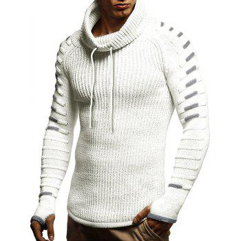 Raglan Sleeve Finger Hole Contrast Color Cowl Neck Sweater