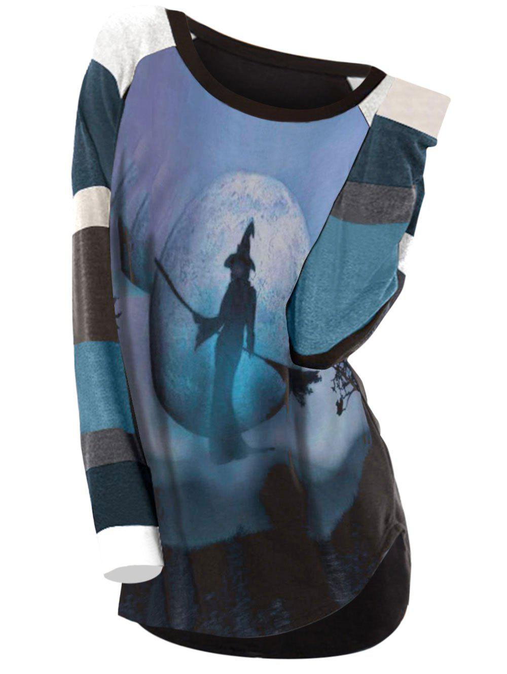Plus Size Pumpkin Witch Halloween Curved Hem Tee - multicolor A M