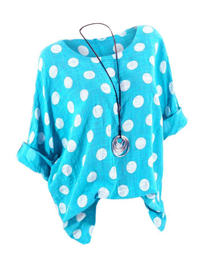Plus Size Batwing Sleeve Polka Dot Top - DAY SKY BLUE 3X