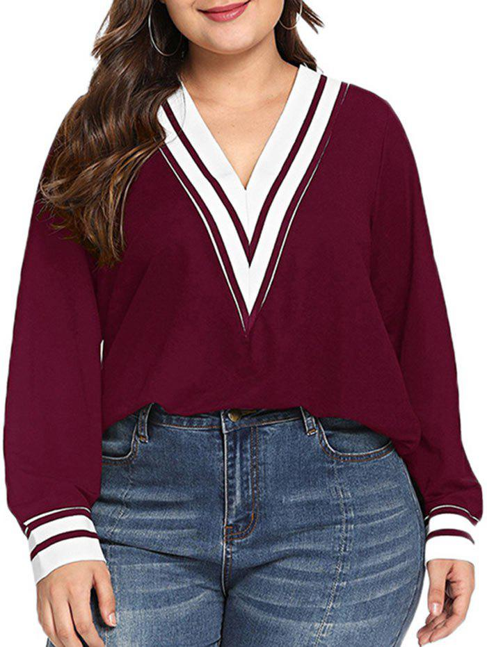 Stripes Panel V Neck Long Sleeve Plus Size Top - RED WINE L