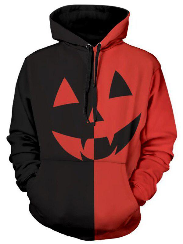Halloween Pumpkin Two Tone Panel Pullover Hoodie - RED 2XL