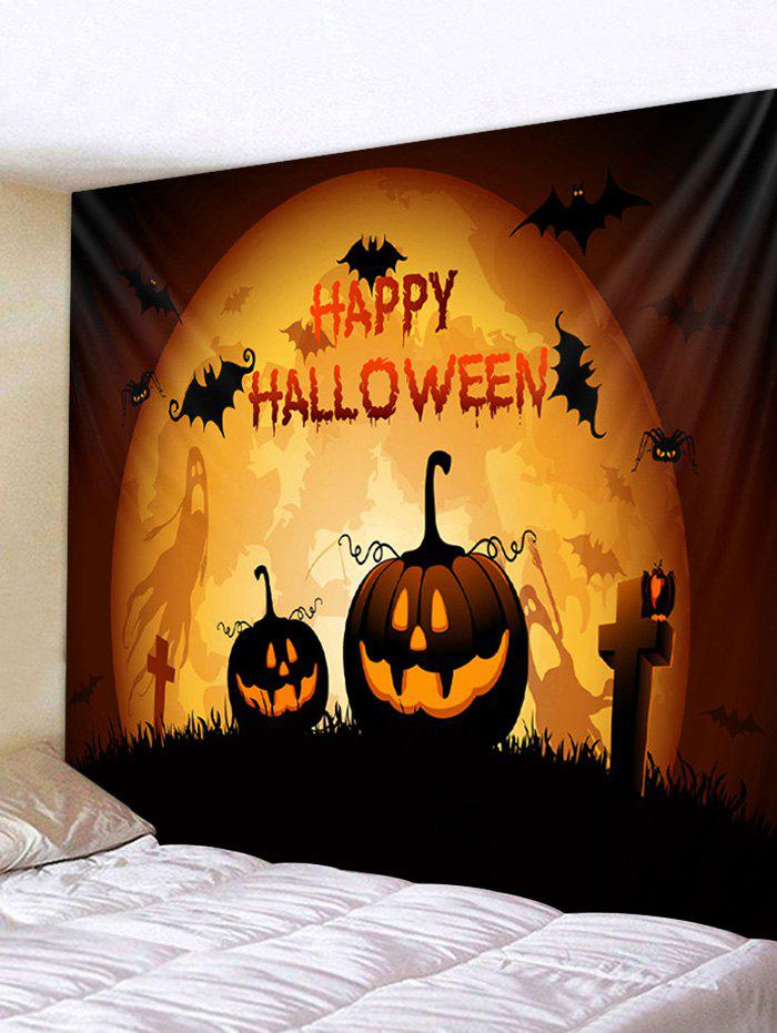 Pumpkin Gothic Halloween Character Print Art Decoration Wall Tapestry - BEE YELLOW 230*180CM