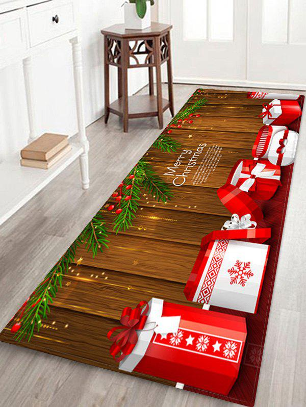 Merry Christmas Gift Wooden Print Floor Rug - RED W24 X L71 INCH
