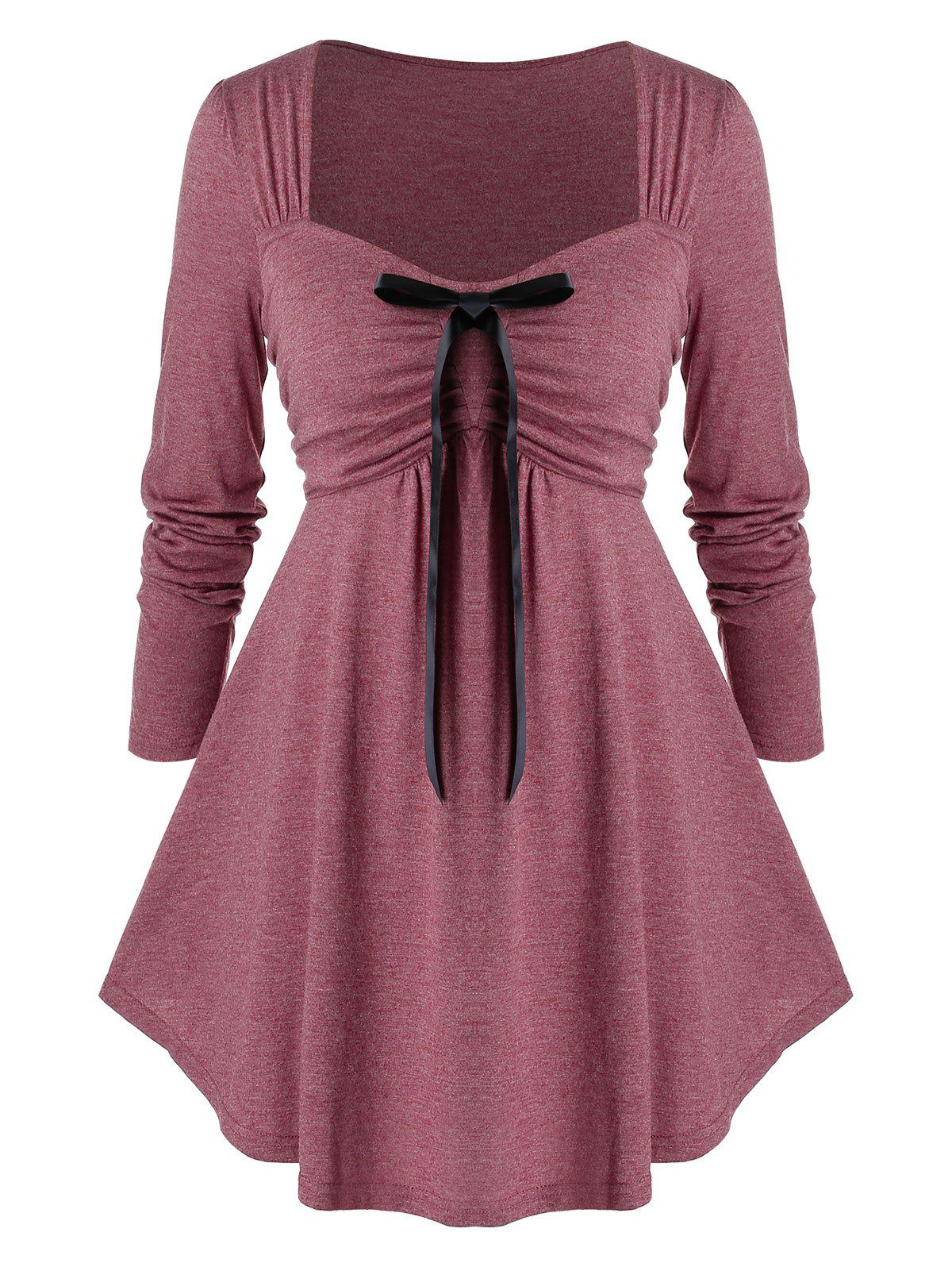 Plus Size Bowknot Ruched Empire Waist T Shirt - RED WINE L
