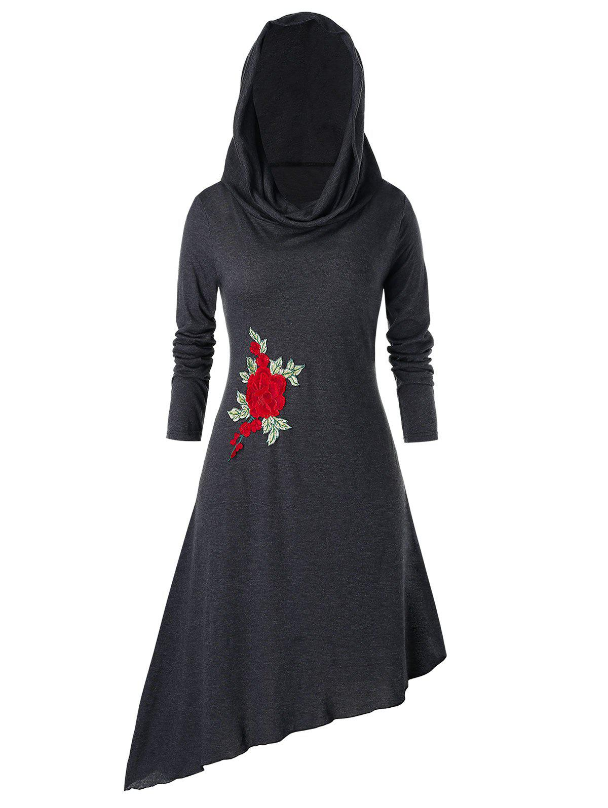 Plus Size Hooded Embroidered Asymmetric Dress - CARBON GRAY 1X