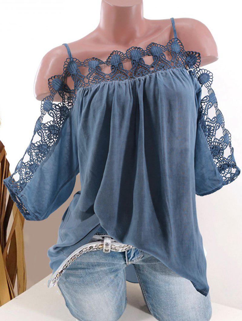 Lace Panel Open Shoulder Plus Size Blouse - BLUE 2X