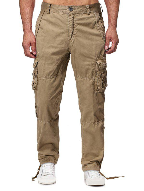 Solid Flap Pocket Long Straight Cargo Pants фото