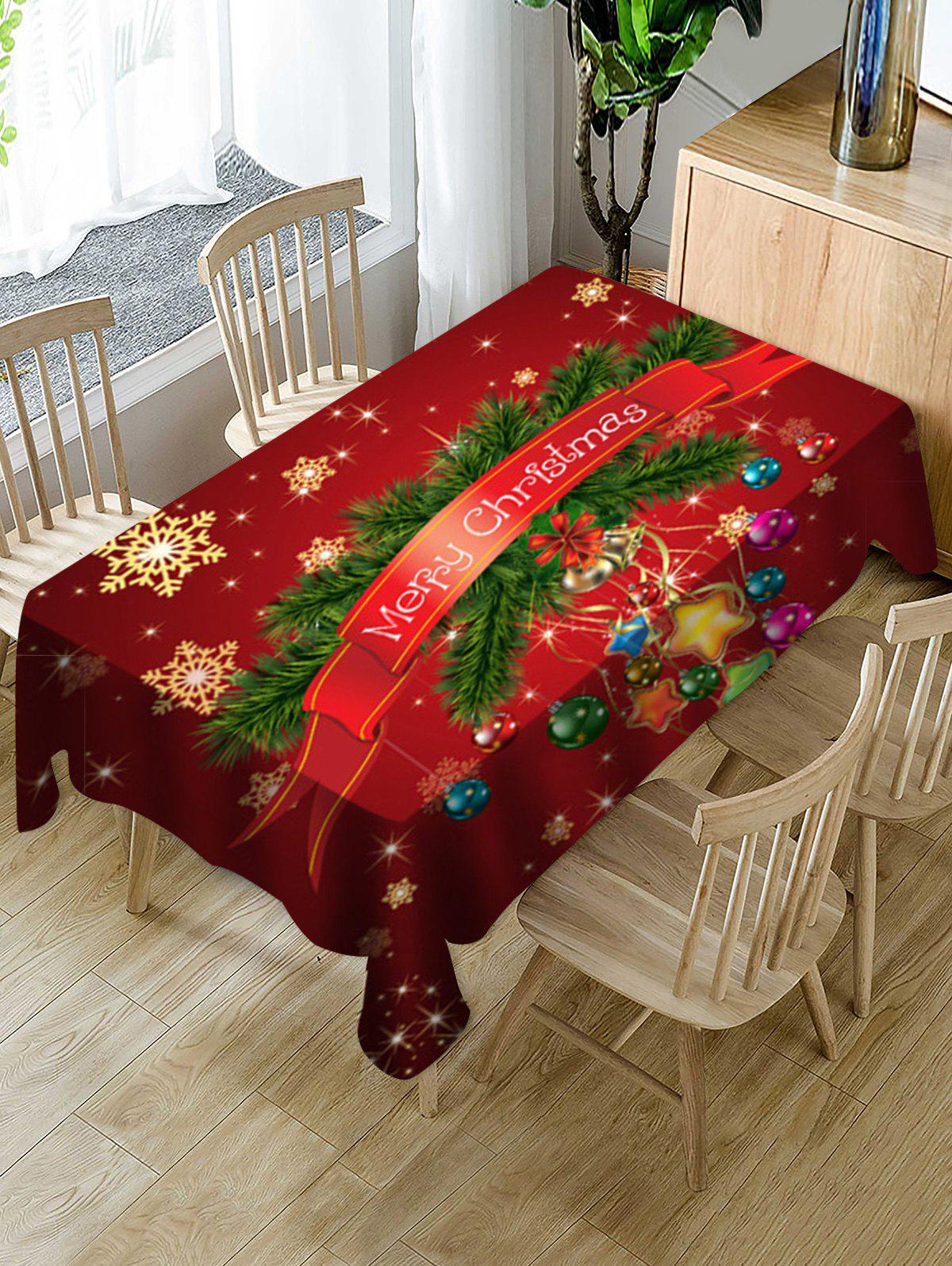Merry Christmas Snowflake Print Fabric Waterproof Tablecloth - multicolor W60 X L84 INCH