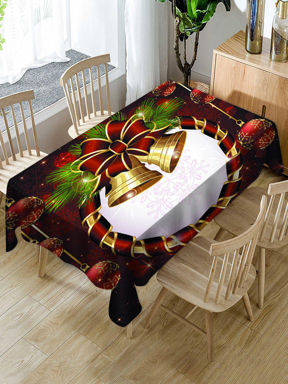 Christmas Bells and Balls Print Fabric Waterproof Tablecloth - multicolor W60 X L84 INCH