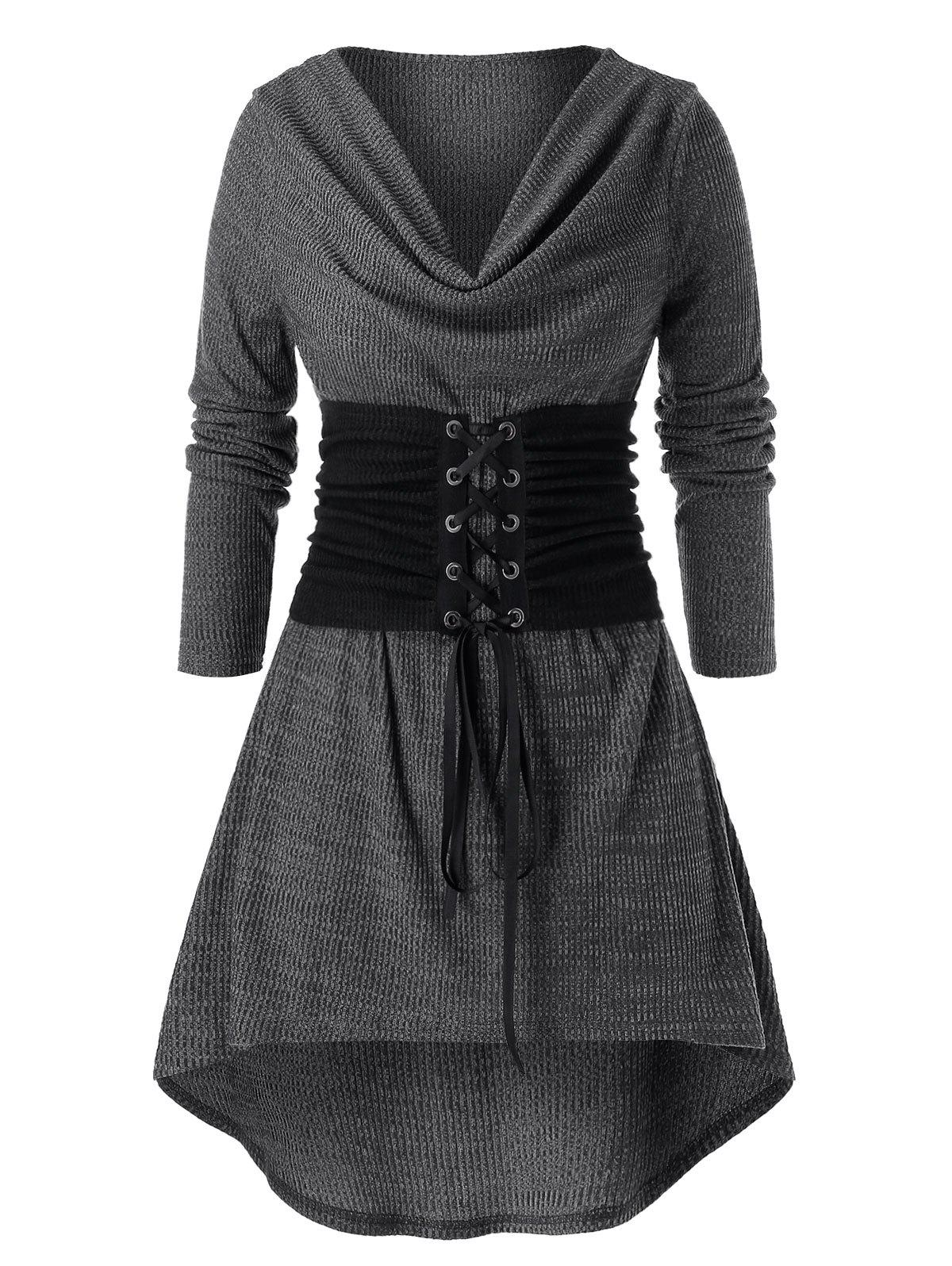 Plus Size Lace-up Front High Low Ribbed T-shirt - DARK GRAY 2X